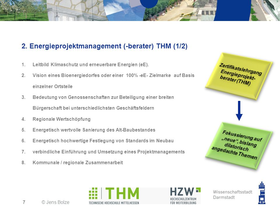 2. Energieprojektmanagement (-berater) THM (1/2)