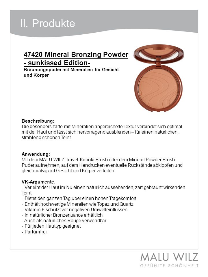 II. Produkte 47420 Mineral Bronzing Powder - sunkissed Edition-