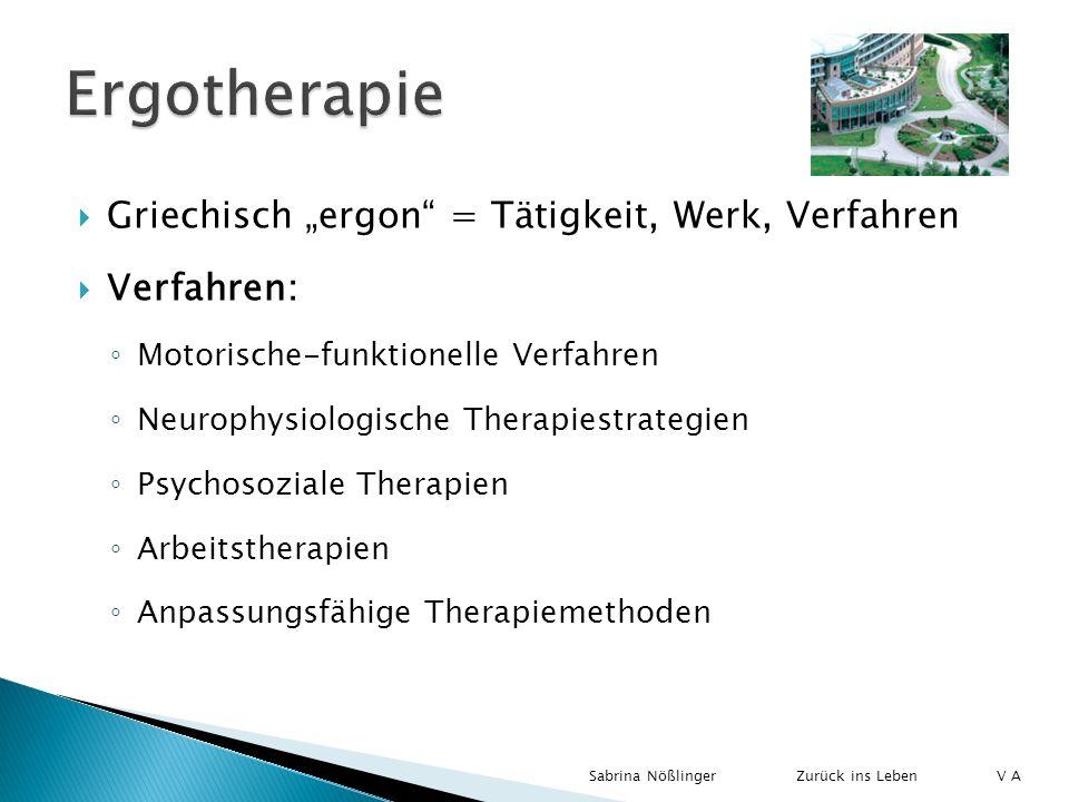 """Ergotherapie Griechisch """"ergon = Tätigkeit, Werk, Verfahren"""