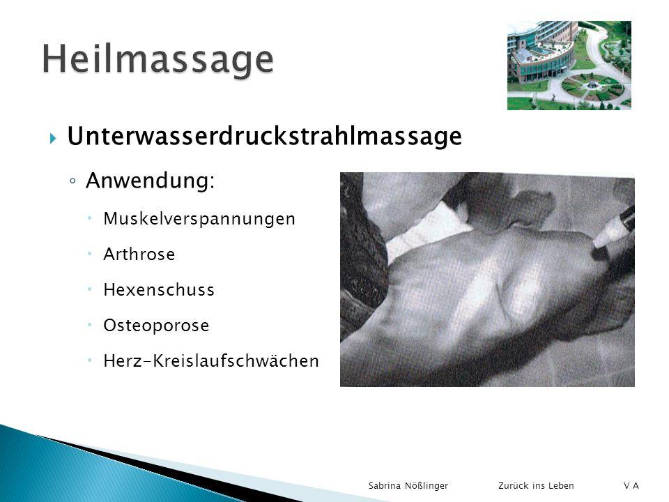 Heilmassage Unterwasserdruckstrahlmassage Anwendung: