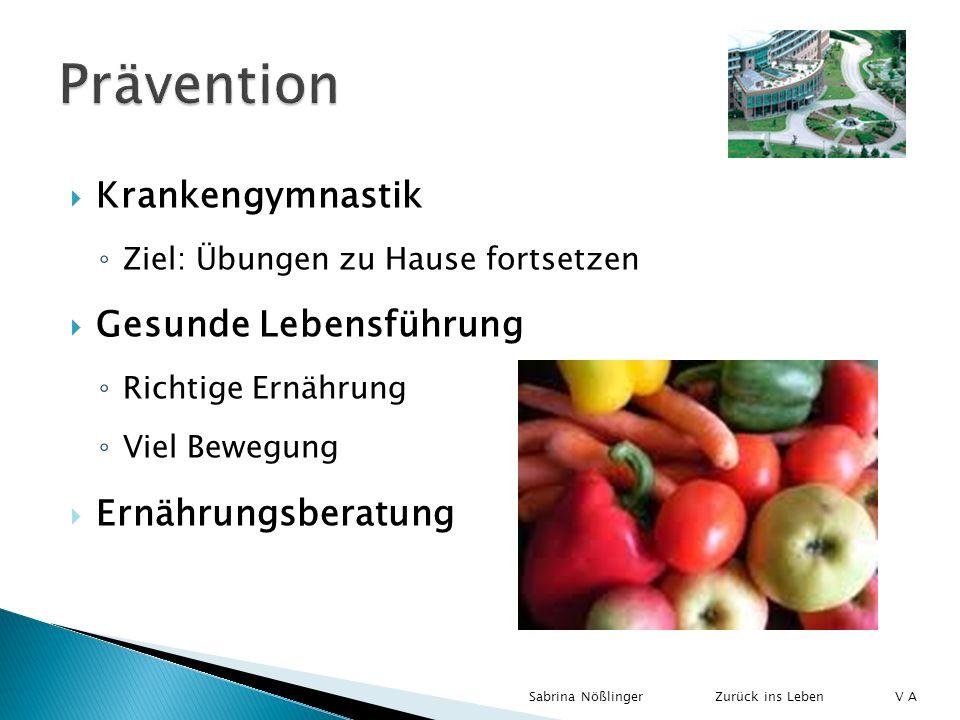 Prävention Krankengymnastik Gesunde Lebensführung Ernährungsberatung