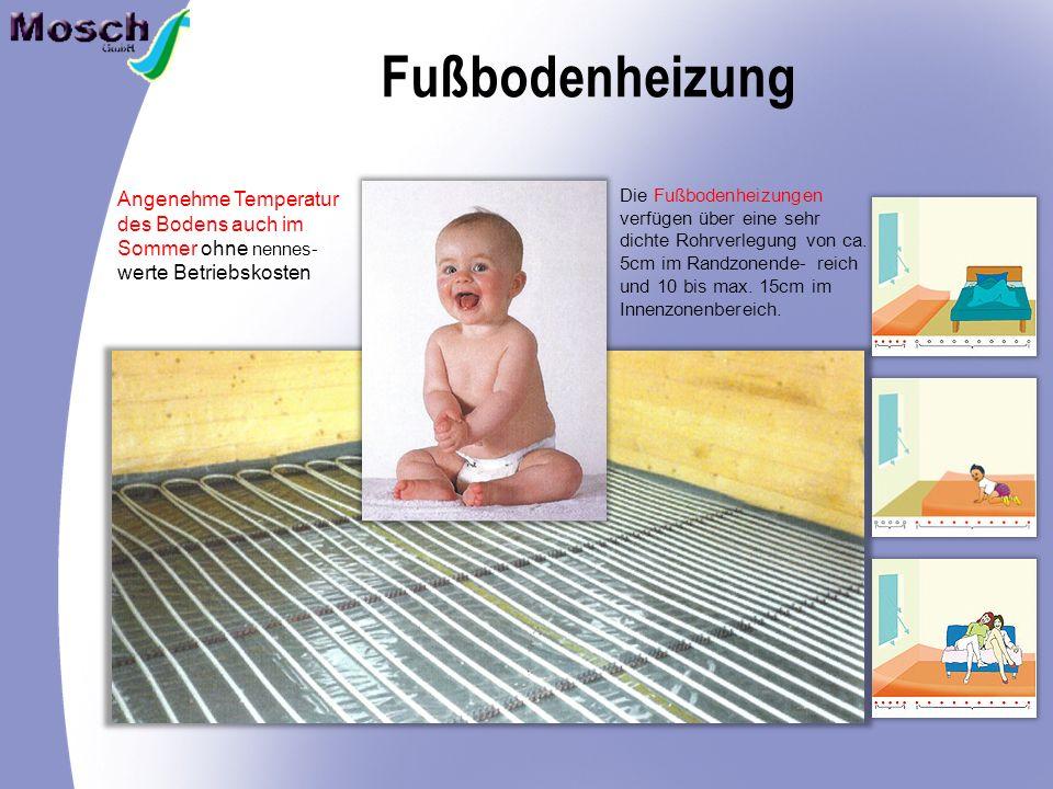 Fußbodenheizung Angenehme Temperatur des Bodens auch im