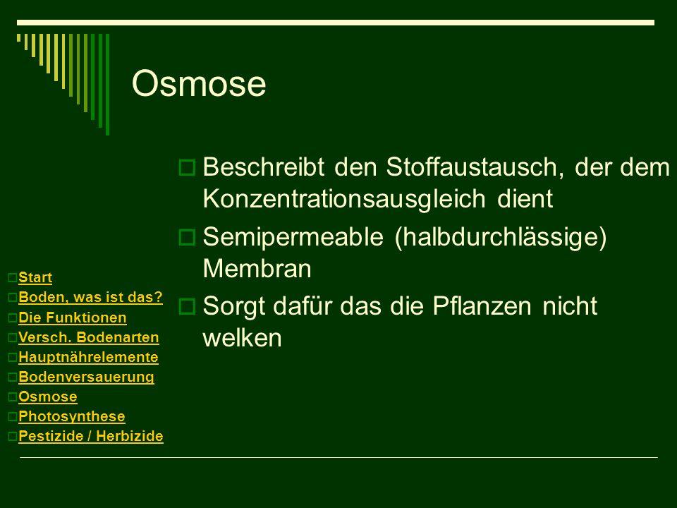 Osmose Beschreibt den Stoffaustausch, der dem Konzentrationsausgleich dient. Semipermeable (halbdurchlässige) Membran.