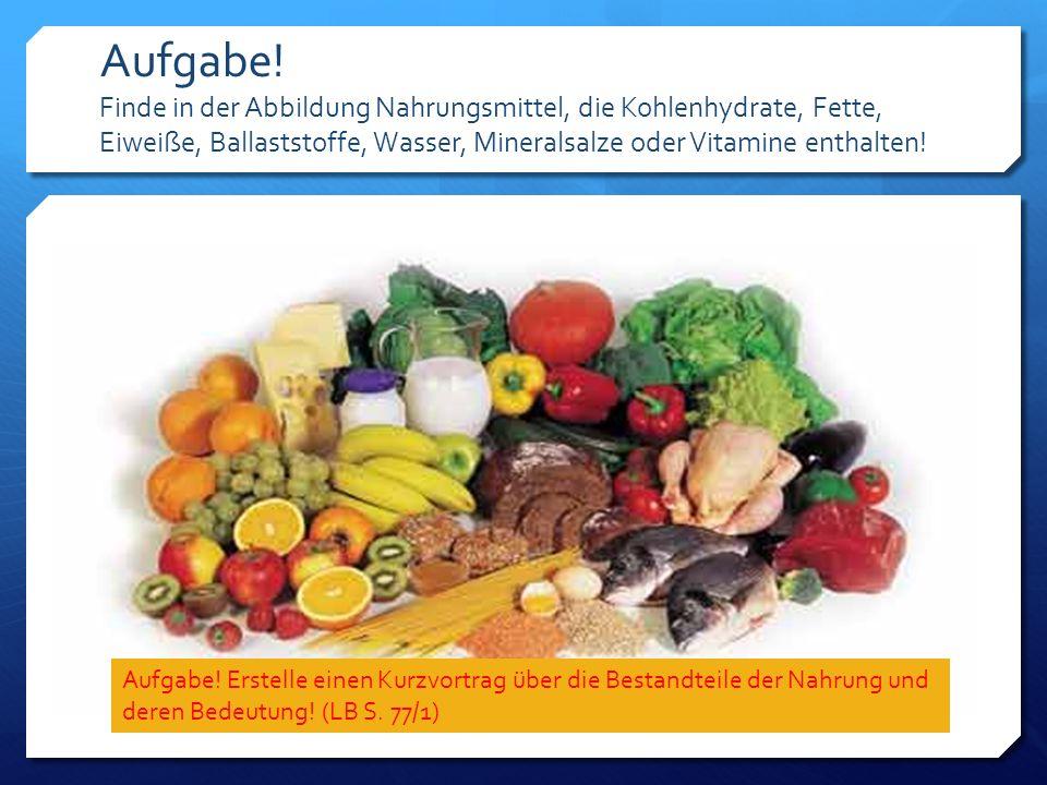 Aufgabe! Finde in der Abbildung Nahrungsmittel, die Kohlenhydrate, Fette, Eiweiße, Ballaststoffe, Wasser, Mineralsalze oder Vitamine enthalten!