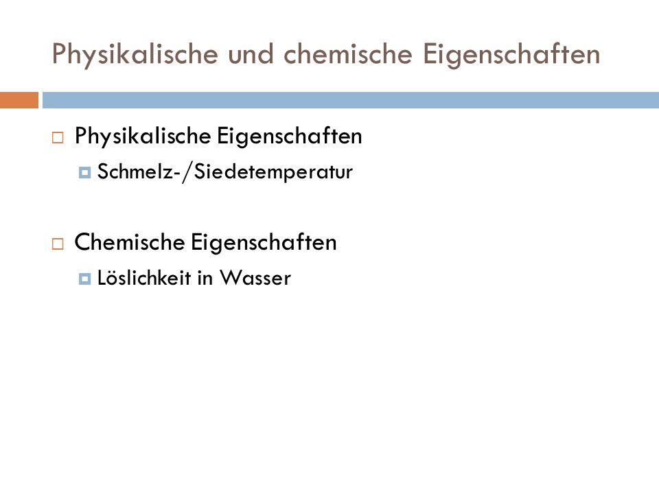 Physikalische und chemische Eigenschaften
