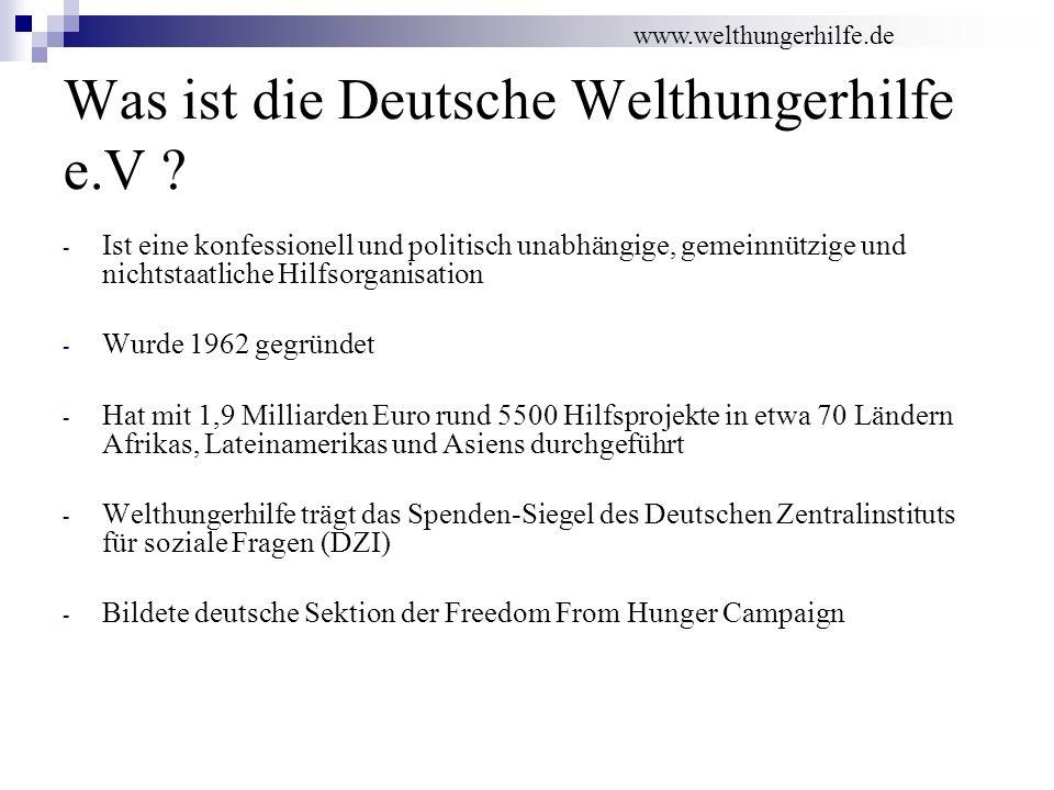 Was ist die Deutsche Welthungerhilfe e.V