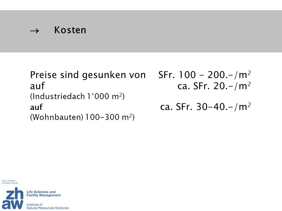 Preise sind gesunken von SFr. 100 - 200.-/m2 auf ca. SFr. 20.-/m2