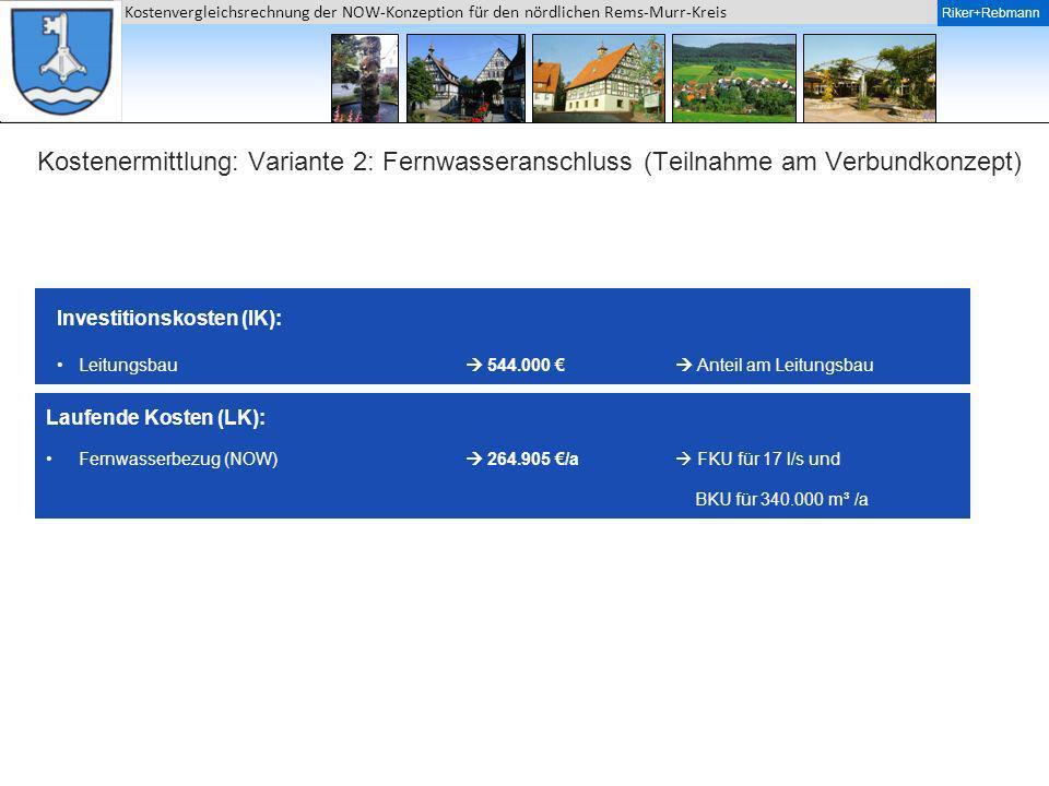 Kostenermittlung: Variante 2: Fernwasseranschluss (Teilnahme am Verbundkonzept)