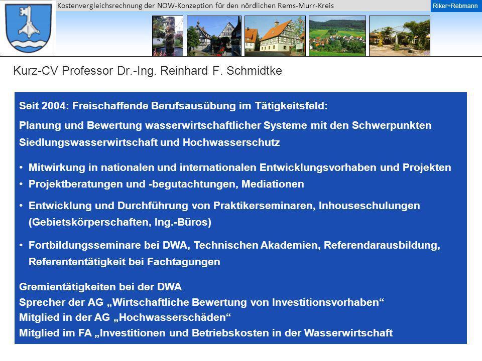Kurz-CV Professor Dr.-Ing. Reinhard F. Schmidtke