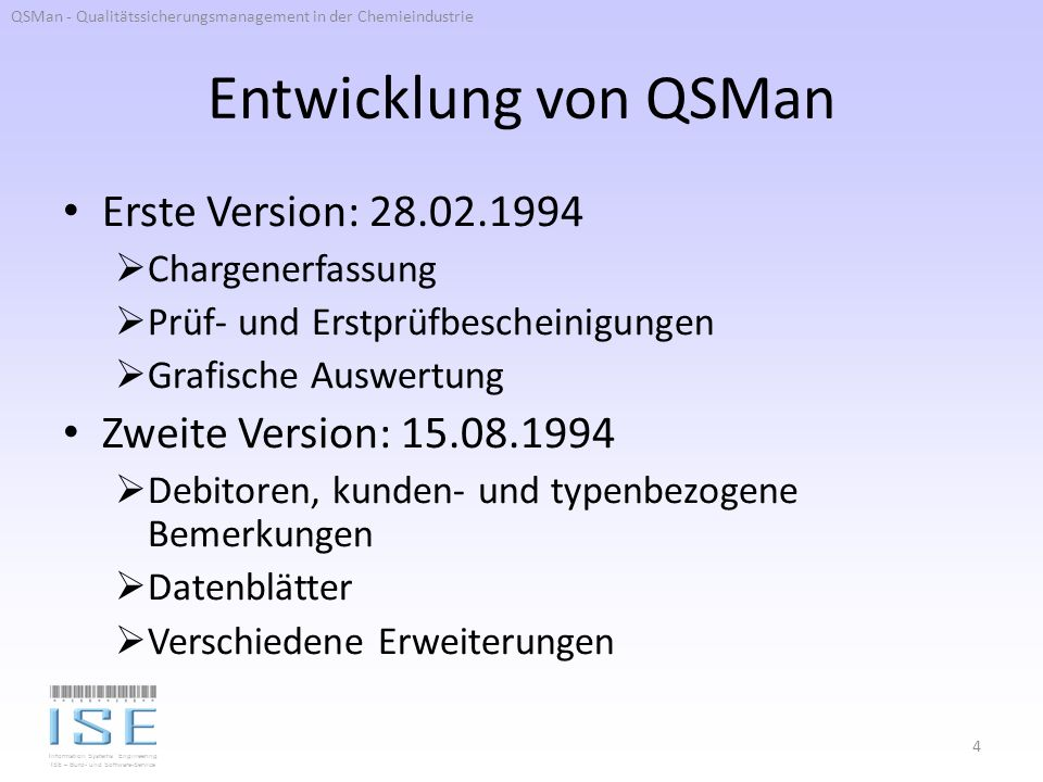 Entwicklung von QSMan Erste Version: 28.02.1994