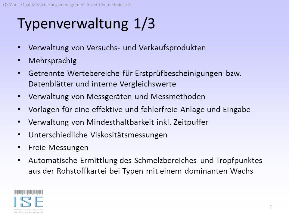 Typenverwaltung 1/3 Verwaltung von Versuchs- und Verkaufsprodukten