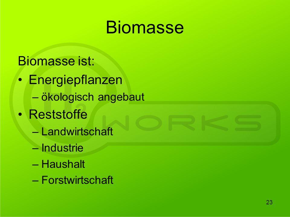 Biomasse Biomasse ist: Energiepflanzen Reststoffe ökologisch angebaut