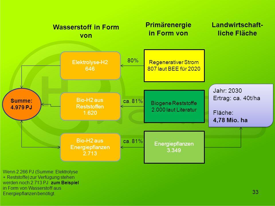 Primärenergie in Form von Landwirtschaft-liche Fläche
