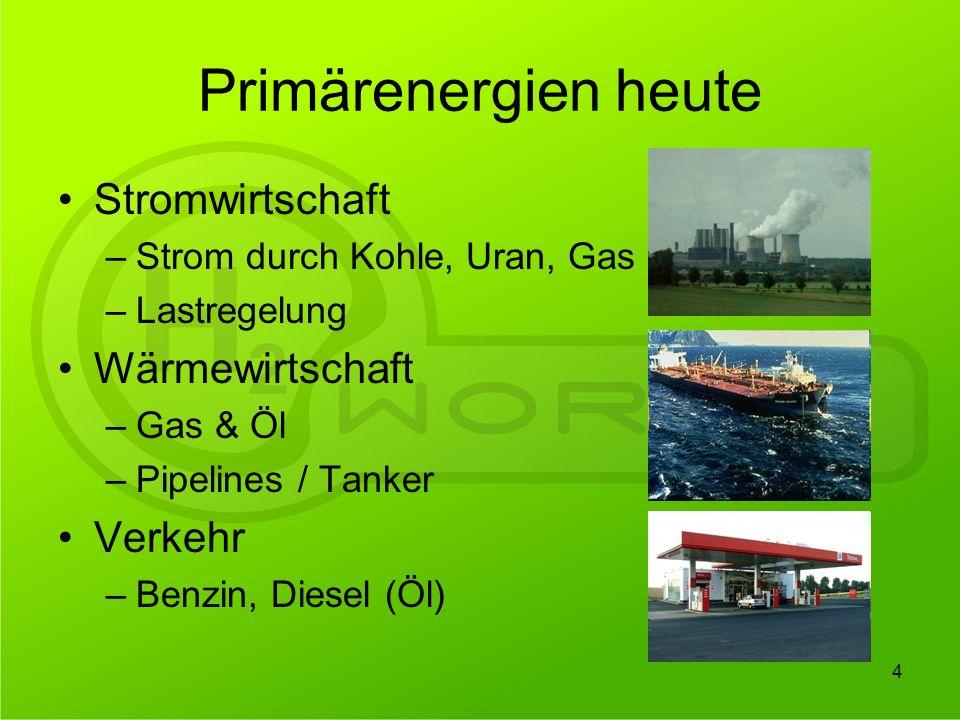 Primärenergien heute Stromwirtschaft Wärmewirtschaft Verkehr