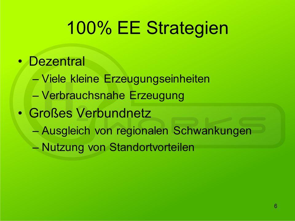 100% EE Strategien Dezentral Großes Verbundnetz