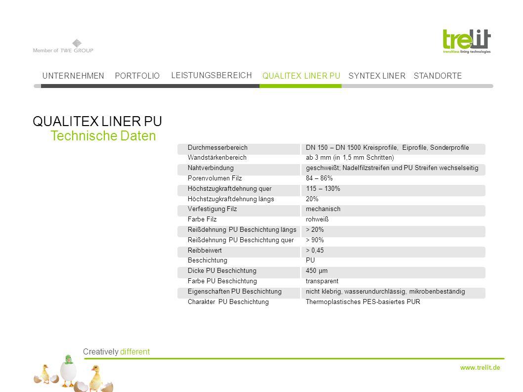 QUALITEX LINER PU Technische Daten UNTERNEHMEN PORTFOLIO