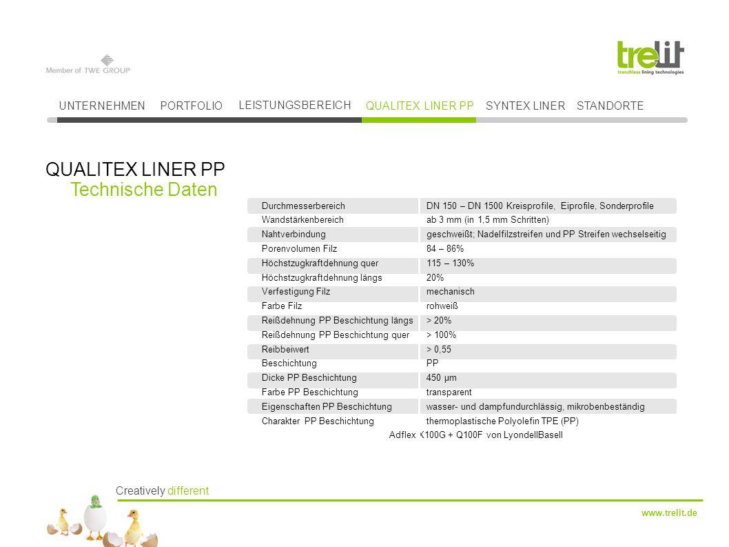 QUALITEX LINER PP Technische Daten UNTERNEHMEN PORTFOLIO