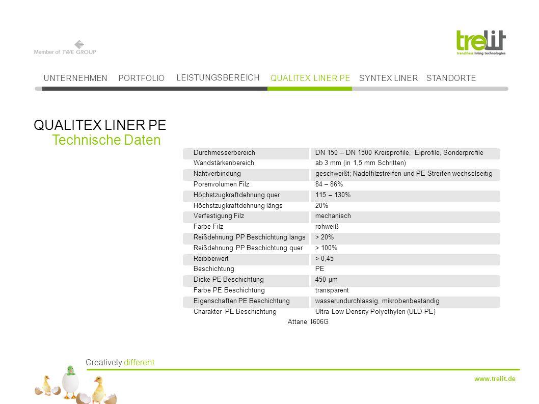 QUALITEX LINER PE Technische Daten UNTERNEHMEN PORTFOLIO