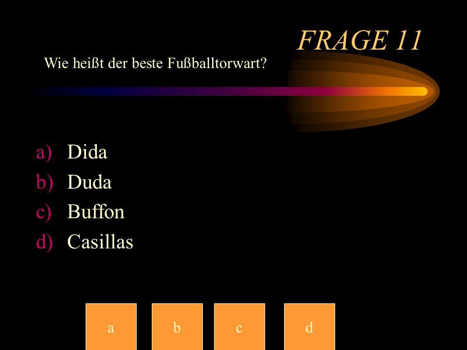 FRAGE 11 Dida Duda Buffon Casillas Wie heißt der beste Fußballtorwart
