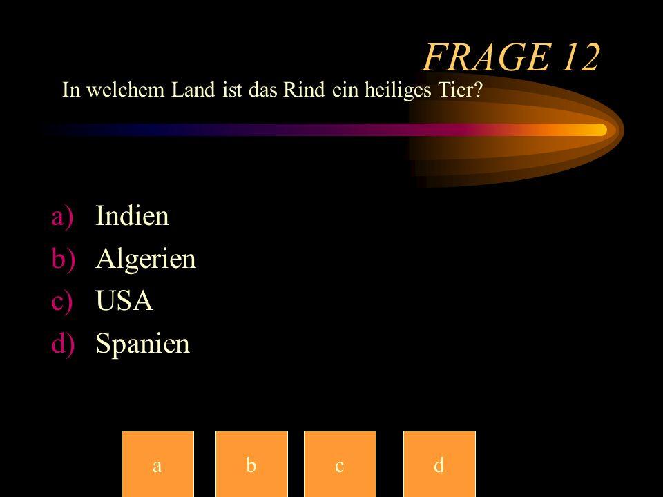 FRAGE 12 Indien Algerien USA Spanien