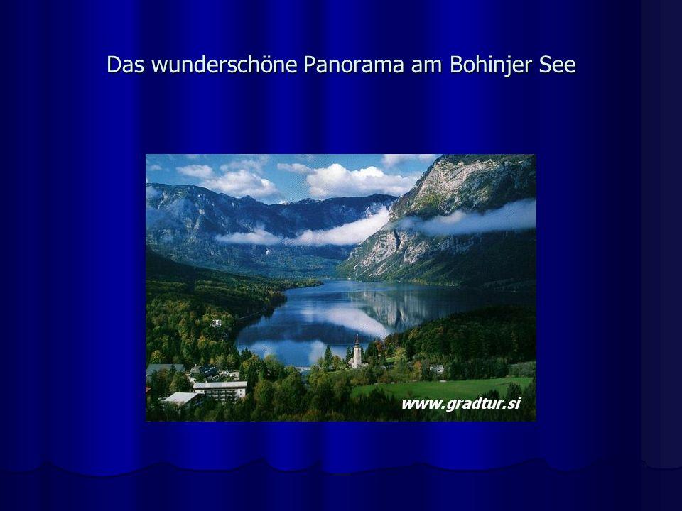 Das wunderschöne Panorama am Bohinjer See