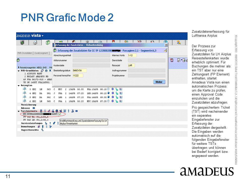 PNR Grafic Mode 2 Zusatzdatenerfassung für Lufthansa Airplus