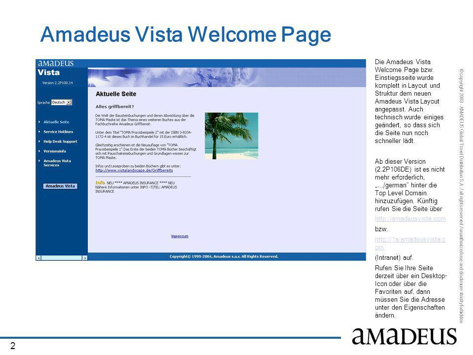 Amadeus Vista Welcome Page