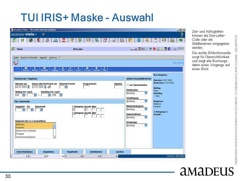 TUI IRIS+ Maske - Auswahl