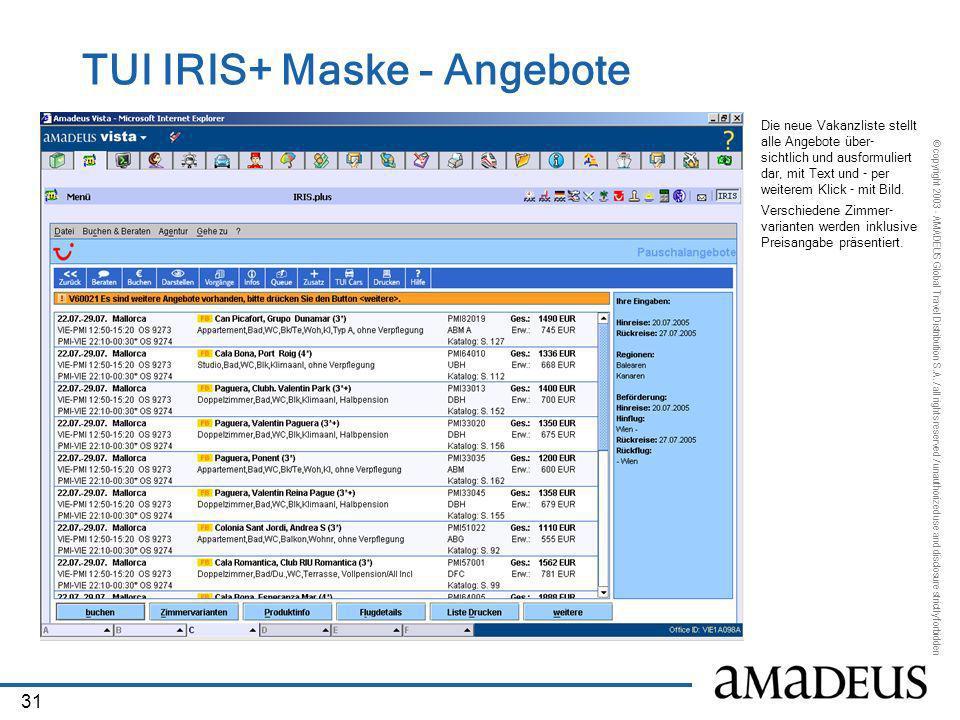 TUI IRIS+ Maske - Angebote
