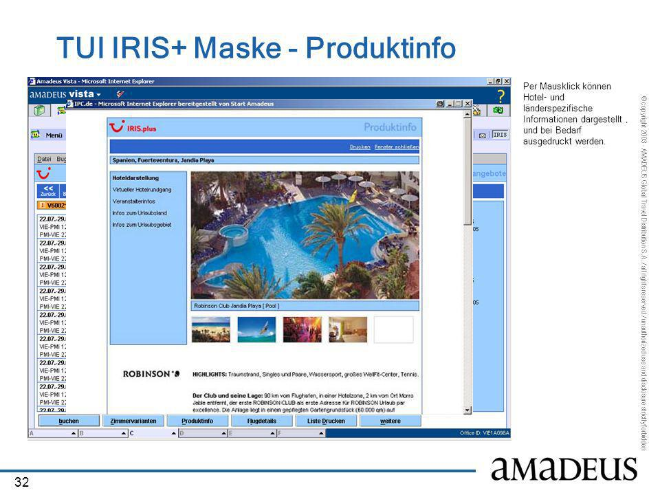 TUI IRIS+ Maske - Produktinfo