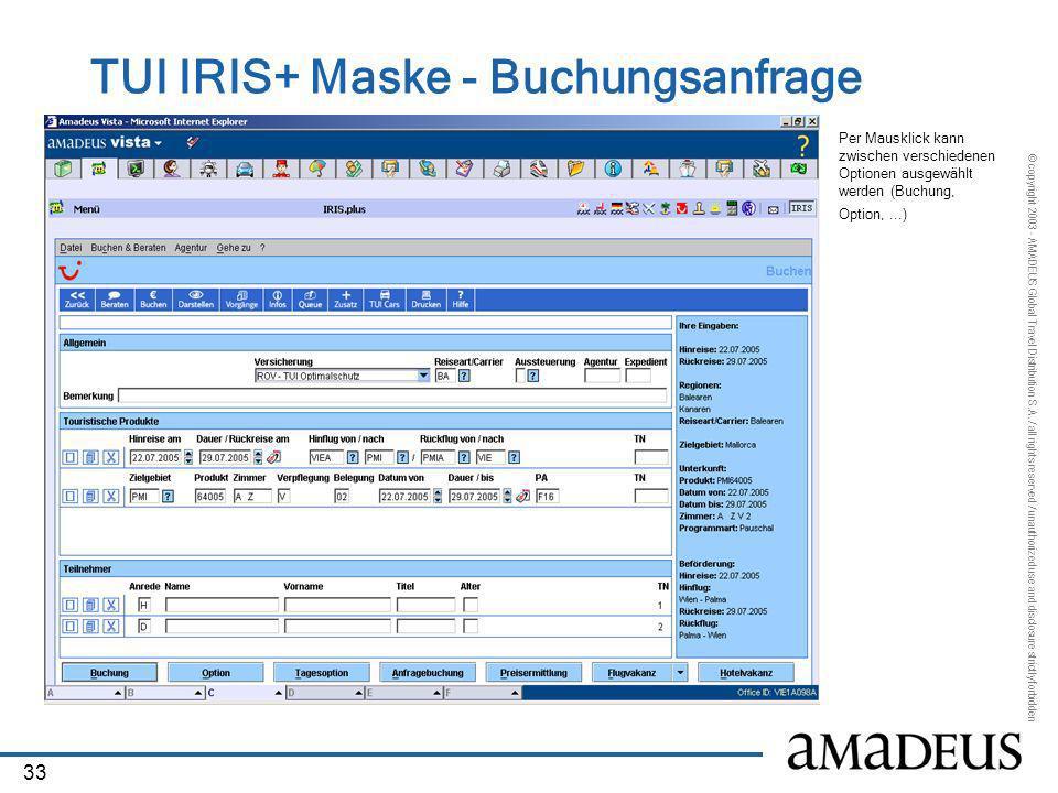 TUI IRIS+ Maske - Buchungsanfrage
