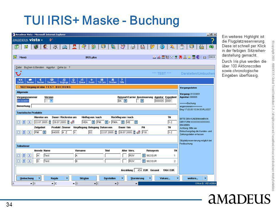 TUI IRIS+ Maske - Buchung