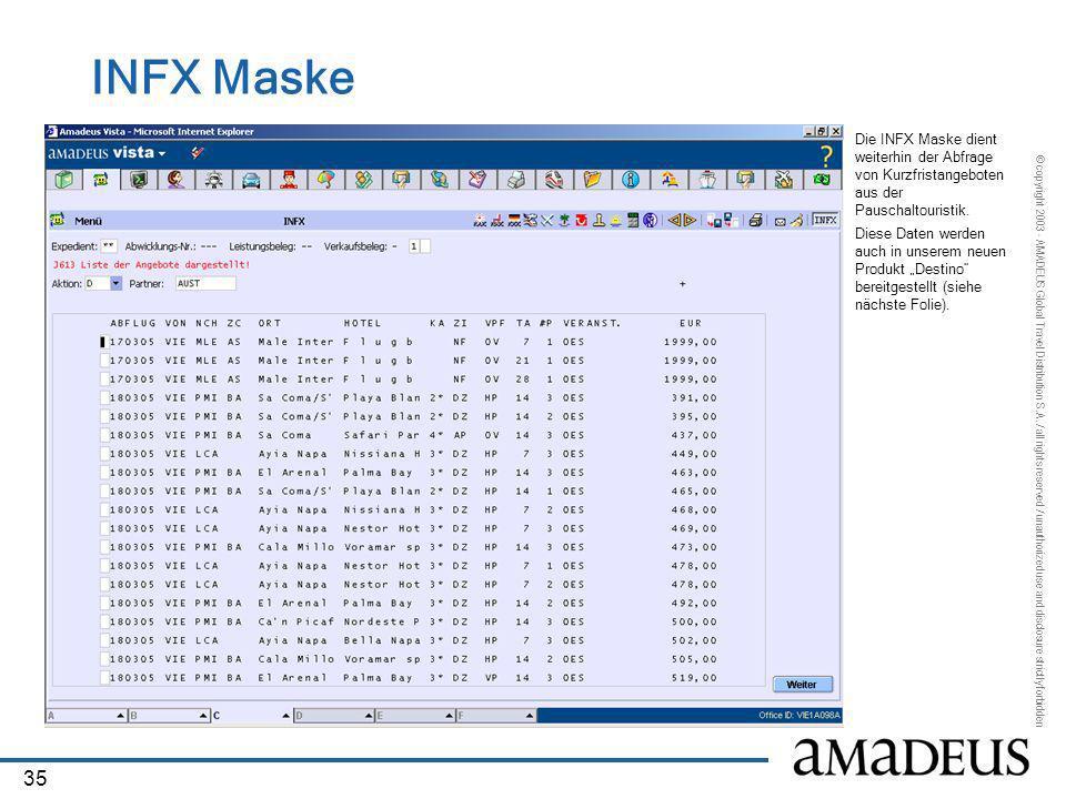 INFX Maske Die INFX Maske dient weiterhin der Abfrage von Kurzfristangeboten aus der Pauschaltouristik.