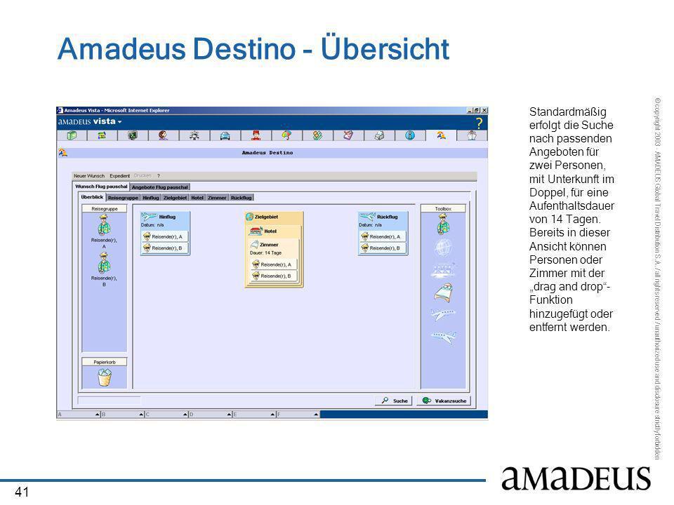 Amadeus Destino - Übersicht