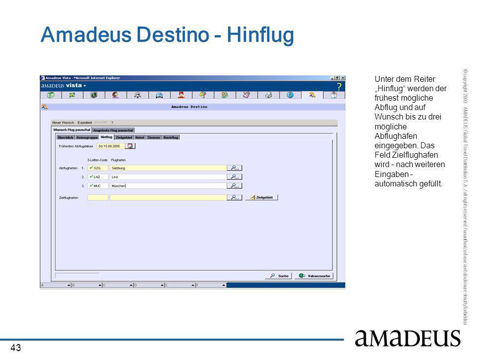 Amadeus Destino - Hinflug