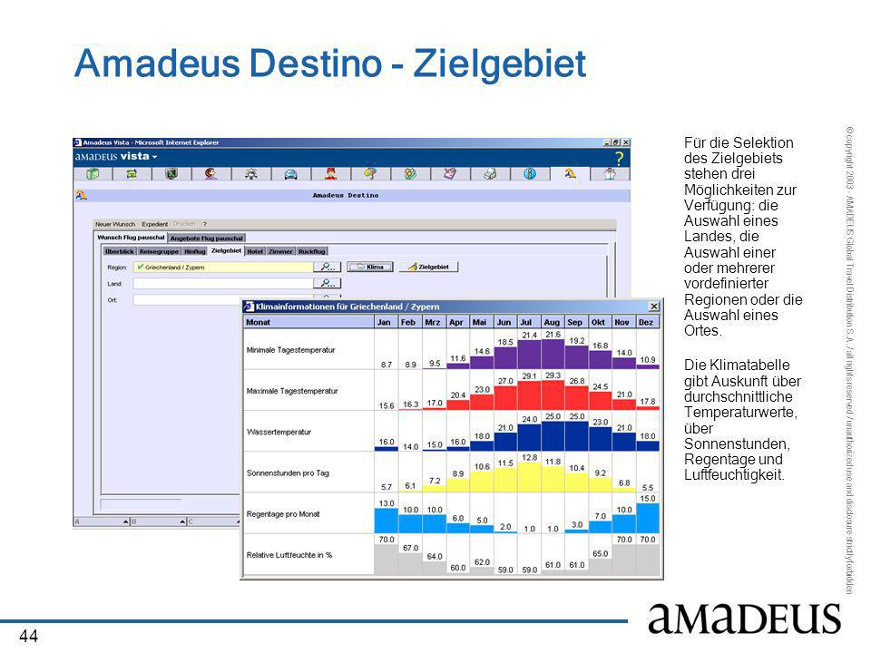 Amadeus Destino - Zielgebiet