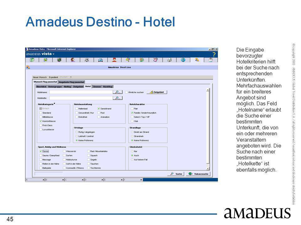 Amadeus Destino - Hotel