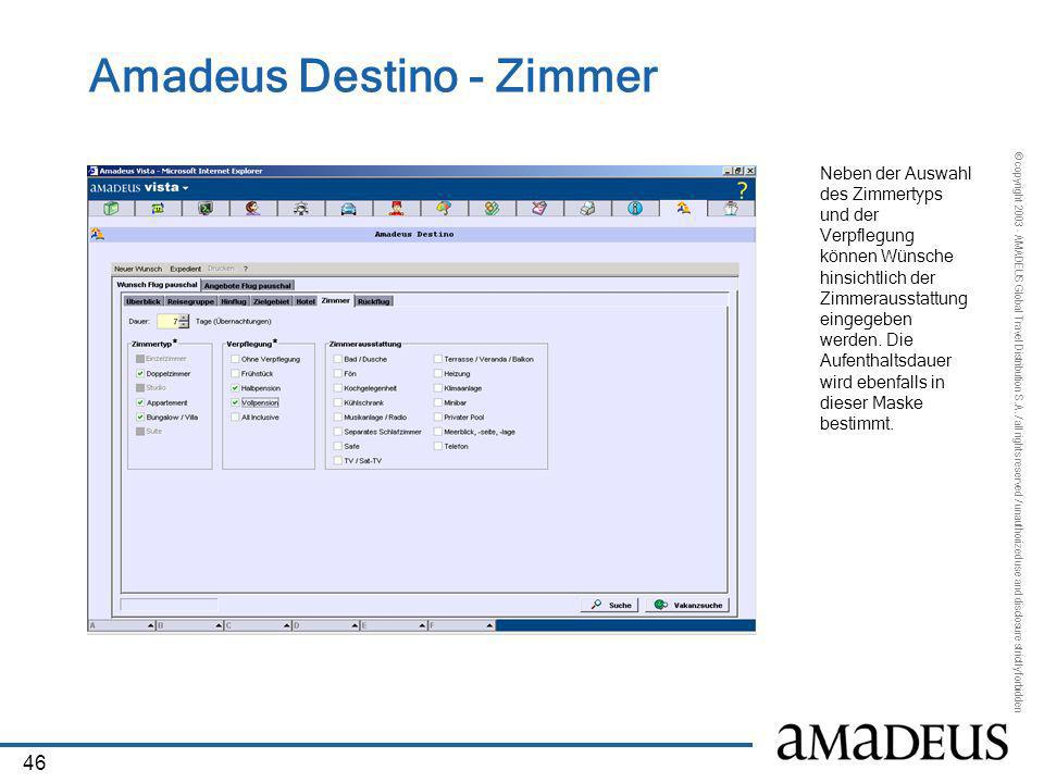 Amadeus Destino - Zimmer