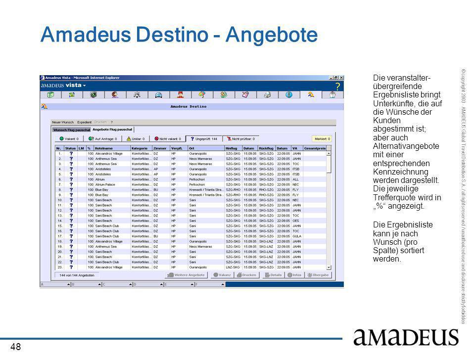 Amadeus Destino - Angebote