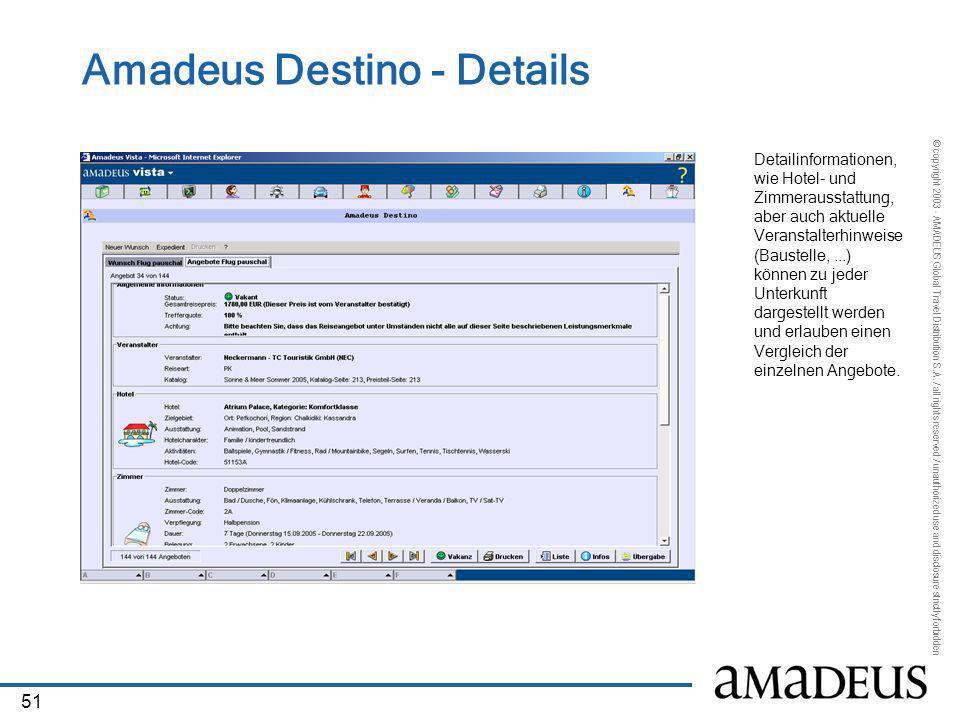 Amadeus Destino - Details