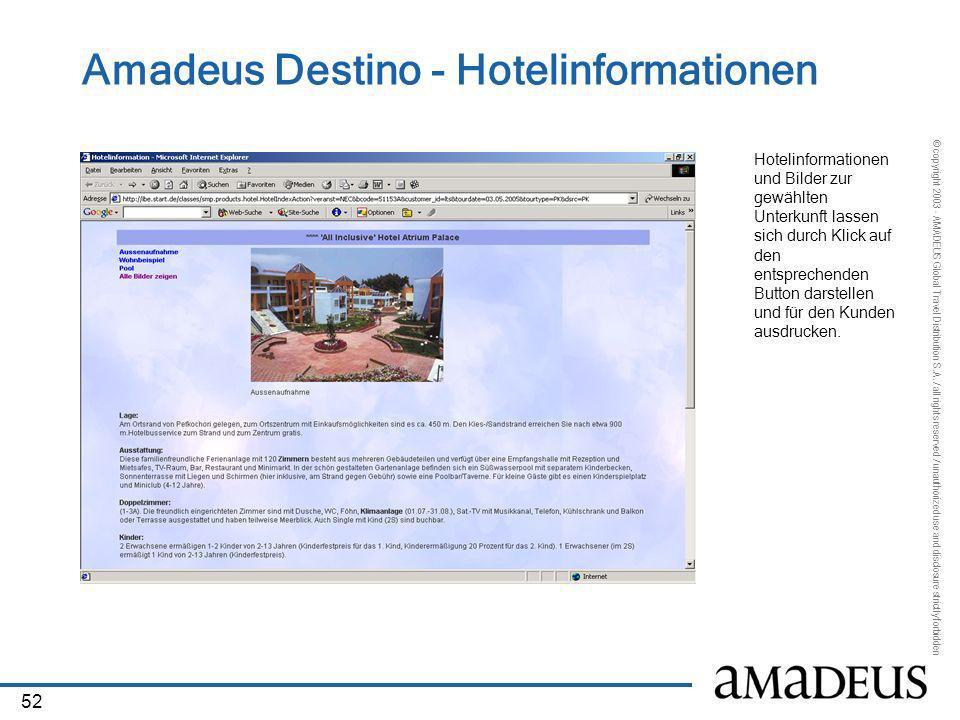 Amadeus Destino - Hotelinformationen