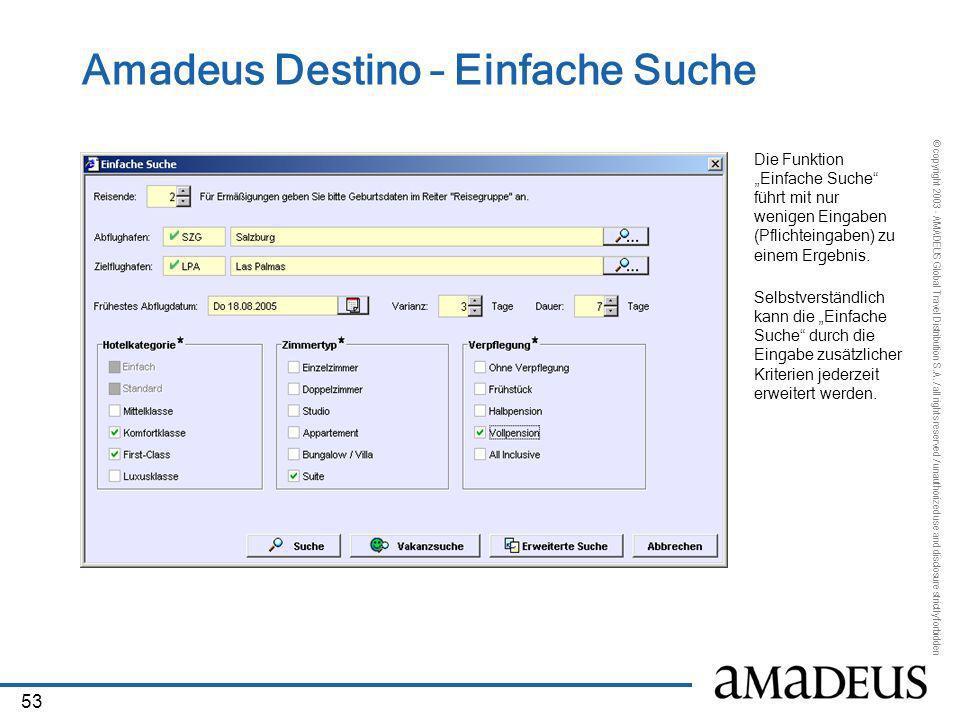 Amadeus Destino – Einfache Suche