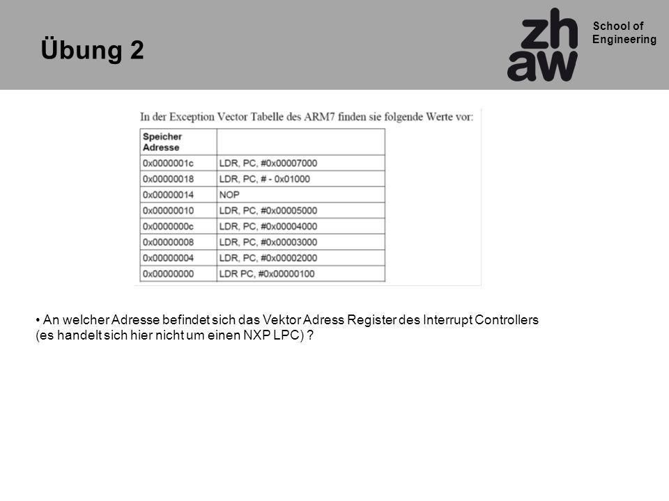 Übung 2 An welcher Adresse befindet sich das Vektor Adress Register des Interrupt Controllers.