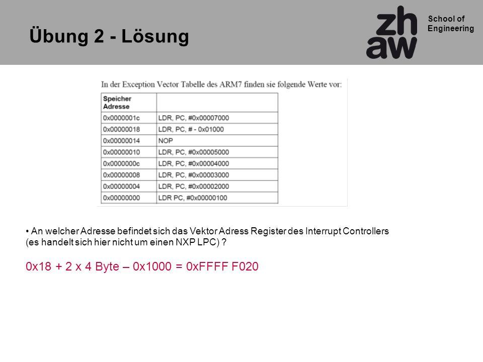 Übung 2 - Lösung 0x18 + 2 x 4 Byte – 0x1000 = 0xFFFF F020