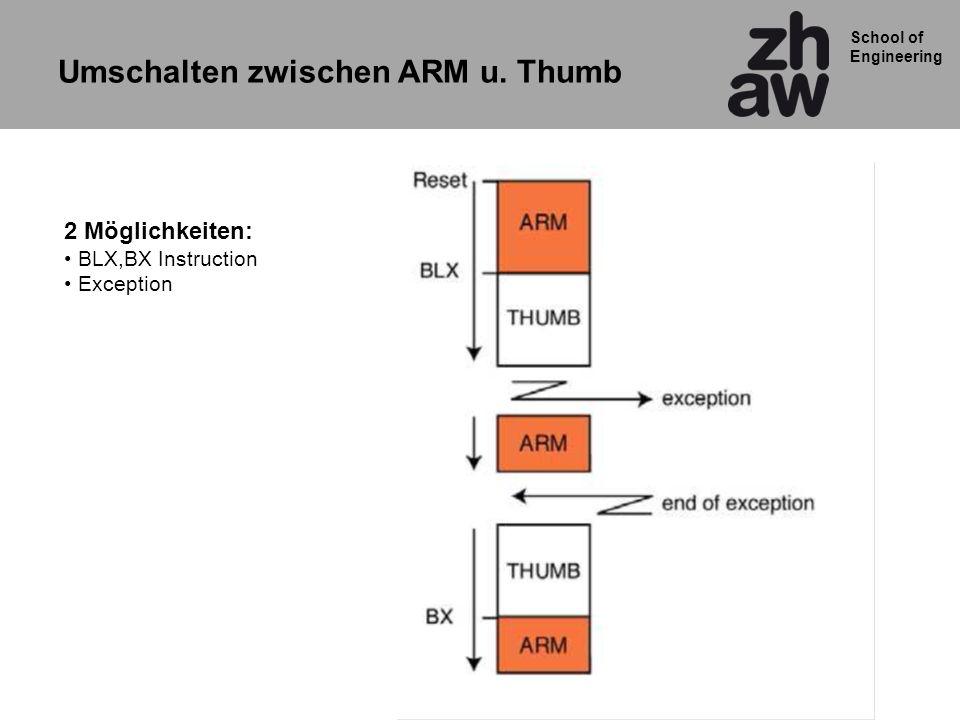 Umschalten zwischen ARM u. Thumb