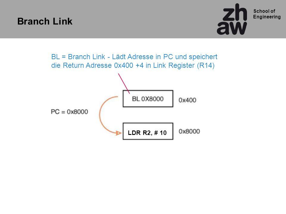 Branch Link BL = Branch Link - Lädt Adresse in PC und speichert