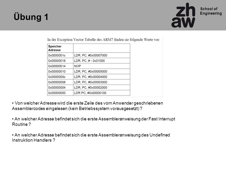 Übung 1 Von welcher Adresse wird die erste Zeile des vom Anwender geschriebenen. Assemblercodes eingelesen (kein Betriebssystem vorausgesetzt)