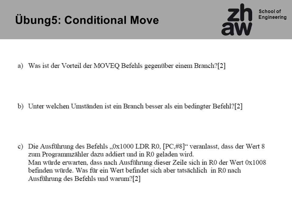 Übung5: Conditional Move