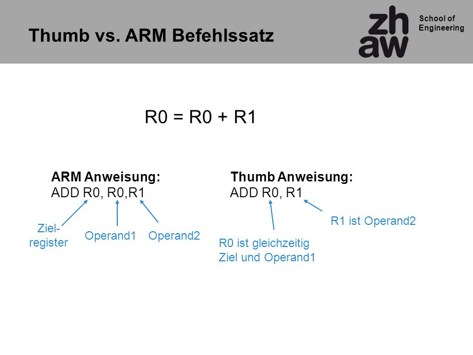 Thumb vs. ARM Befehlssatz