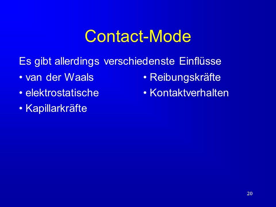 Contact-Mode Es gibt allerdings verschiedenste Einflüsse van der Waals